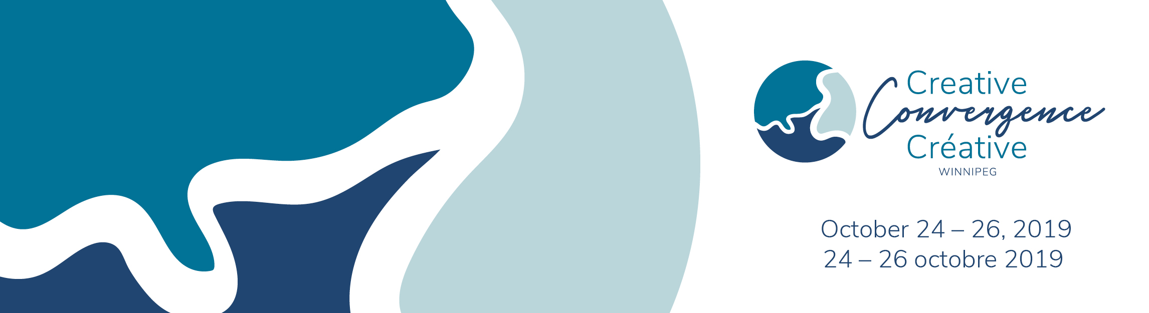 Creative Convergence banner featuring the conference logo in shades of blue. The conference runs October 24-26, 2019, in Winnipeg, Canada.